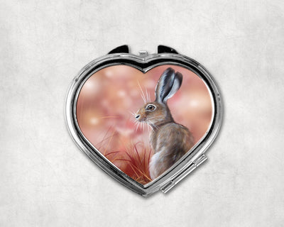 Red Sky at Morning Heart Shaped Compact Mirror
