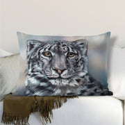 Snow Leopard Gaze Lumbar Cushion