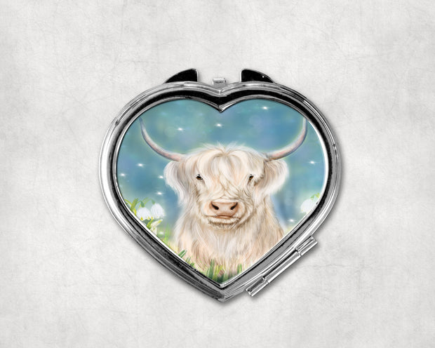 Snowdrop Heart Shaped Compact Mirror