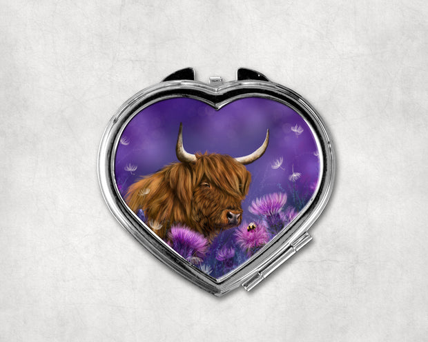 Thistledown Heart Shaped Compact Mirror