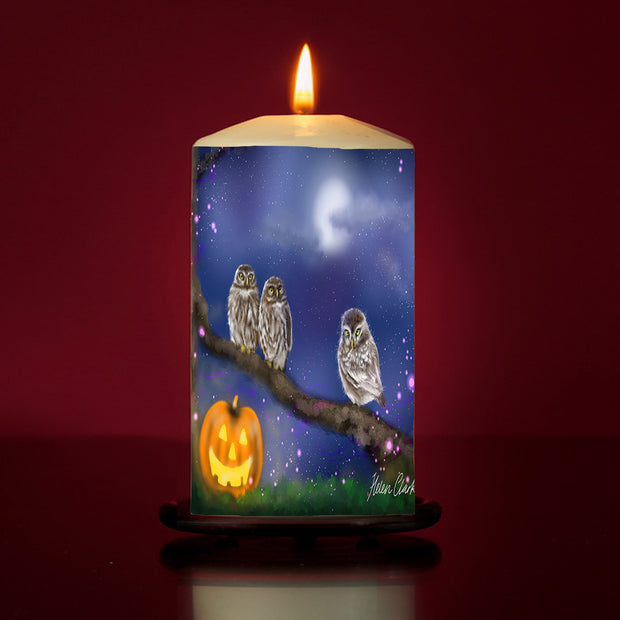Three little Hoots Large Pillar Candle