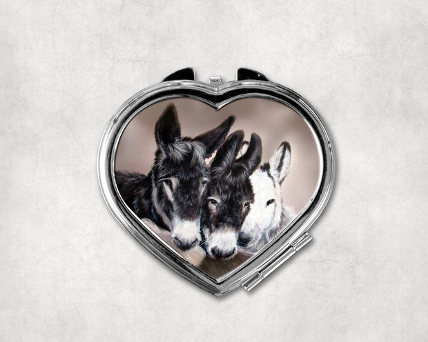 Three Wise Donkeys Heart Shaped Compact Mirror