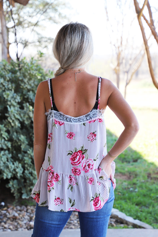 Just One Look Floral Tank-Off White