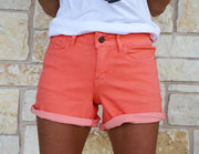 Coral Cuffed Denim Shorts