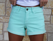 Mint Cuffed Denim Shorts