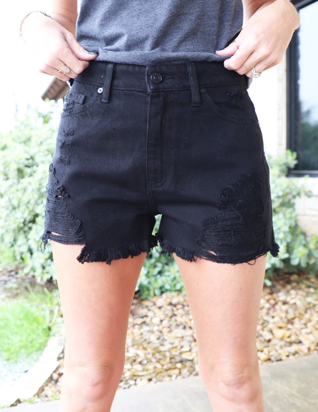 Kancan Black High-Rise Distressed Shorts