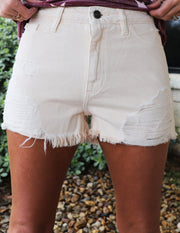 Kancan Peach Distressed Shorts