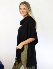 Wide Open Spaces Poncho- Black