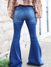 L&B Dark Wash Distressed Denim Flare Jeans