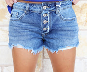 Kancan Mid-Rise Button Denim Shorts