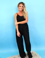 Sunday Morning Jumpsuit- Black