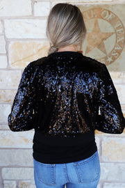 Sequined Bomber Jacket-Black