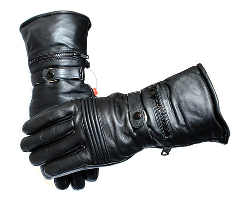 Perrini Motorcycle Leather Winter Gloves Close Out Cow Hide Heavy Duty Lined w/ Pockets