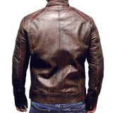 Perrini Brown Mens Genuine Sheep Skin Leather Fashion Jacket zipped Chest & Side Pockets