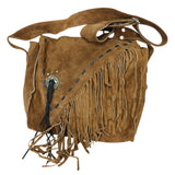 Perrini Brown Fringed Cross Body Purse Fringe Boho Leather Bag Crossbody Handbag
