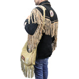 Perrini Beige Fringed Cross Body Purse Fringe Boho Leather Bag Crossbody Handbag