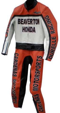 Custom Motorcycle Leather Racing Suit with Personal Name Number Hump Option