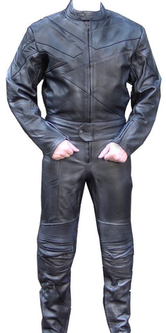 Perrini Venom 2pc Motorcycle Riding Racing Track Suit w/ Padding Drag Suit Black