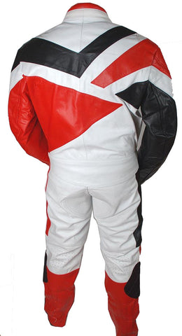 2pc Motorcycle Riding Racing Track Suit w/ padding All Leather Drag Suit Red