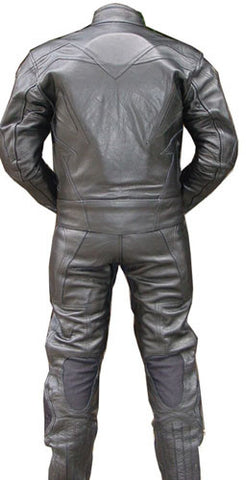 Perrini's Storm 2pc Motorcycle Riding Racing Leather Track Suit with Padding BLK