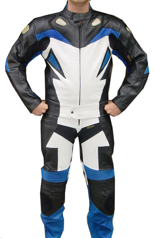 Perrini Storm 2pc Motorcycle Riding Racing Leather Track Suit Blue/White & Black