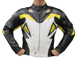 Perrini Storm 2pc Motorcycle Riding Racing Leather Track Suit Yellow/White/Black