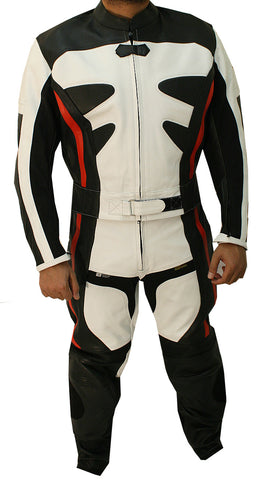 2pc Black & White Alienator Motorcycle Leather Racing Suit