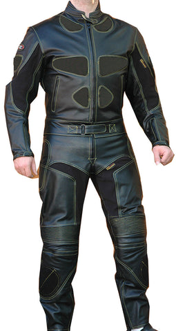 Perrini's Poison 2 pc Motorcycle Cow Hide Genuine Leather Suit Racing Full Black