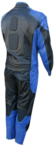 Perrini's Poison 2 pc Motorcycle Cow Hide Genuine Leather Suit Racing Blue/Black