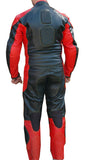 Perrini's Poison 2 pc Motorcycle Cow Hide Genuine Leather Suit Racing Red/ Black