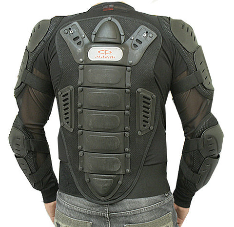 Motorcycle Racing Riding Full Body Armor Spine Protection Jacket w/ GP Armor Black