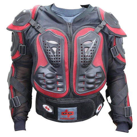 Red & Black CE Approved Perrini Full Body Armor Motorcycle Jacket