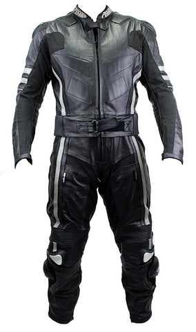 2pc Perrini Ghost II Motorcycle Racing Leather Suit with Metal Waist Zipper Black