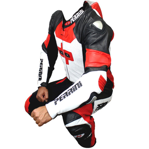 Perrini Pulsar 1Pc Red White & Black Genuine Leather Motorbike Riding Racing Suit
