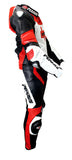 Perrini 1 Pc Red White & Black Genuine Cow Hide Leather Motorbike Riding Motorcycle Racing Suit