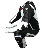 Perrini's Pulsar 1Pc White & Black Genuine Leather Motorbike Riding Racing Suit