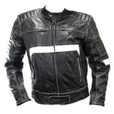 Perrini Men's Classic Black and White Motorbike Riding Genuine Leather Jacket