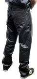 Perrini Men's Fashion Motorbike Cowhide Motorcycle Genuine Leather Sport Pant Black Color
