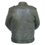New Mens Genuine Sheep Skin Leather Fashion Jacket Green 4 Zipped chest Pocket