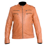 New Mens Genuine Sheep Skin Leather Fashion Jacket Brown 4 Zipped chest Pocket
