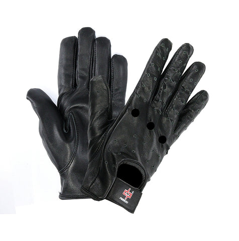 Perrini Black Genuine Leather Summer Driving Classic Gloves All Sizes S - XXL