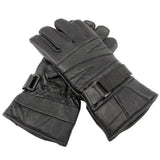 Perrini Motorcycle Gloves Leather Biker Gloves Velcro Strap Black Color