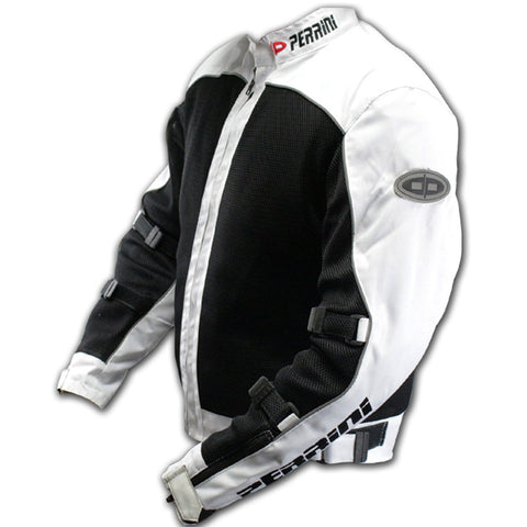 White Motorcycle Riding Cordura Jacket With Pandings Water Proof