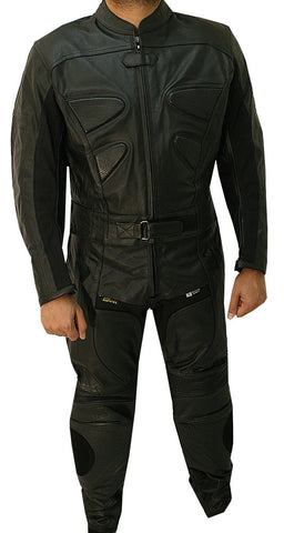 Perrini 2pc Black Alienator Motorcycle Cow hide Genuine Leather Racing Riding Suit