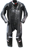 Perrini Tornado All Black Color 1PC Motorbike Riders Racing Genuine Leather Suit