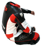 Perrini MI3 Red White & Black 1PC Motorbike Riders Racing Genuine Leather Suit