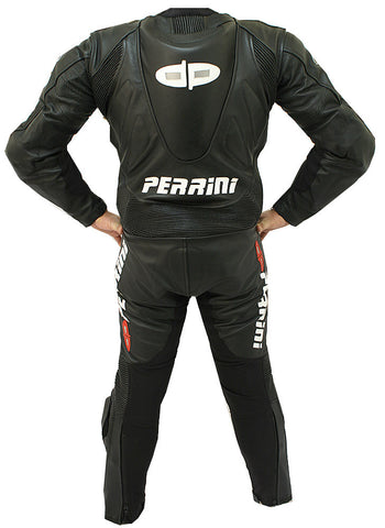 Perrini's Fusion Motorcycle Rider Racing Genuine Cowhide Leather Suit Black Color