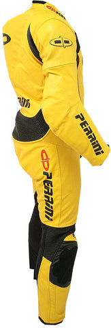 Perrini's Fusion Motorcycle Rider Racing Genuine Cowhide Leather Suit Yellow Blk