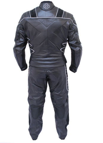 Perrini 2pc X-MEN Motorcycle Genuine leather Racing Riding Track Suit CE Armor