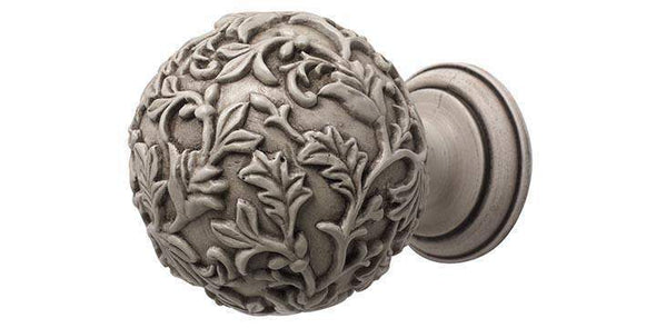 Modern Country 45mm Brushed Ivory Curtain Pole Floral Ball Finial-Curtain Poles Emporium